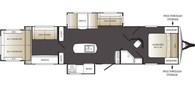 Keystone Outback Terrain 32trs This Is An Awesome Variation On The End Slide Out Concept The Rear Bunk Room Feels E Rv Floor Plans Travel Trailer Floor Plans