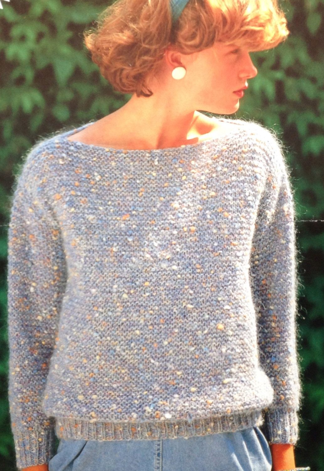 d0646f5d4ebee This is a copy of the Original Pattern for Instant Download Easy Garter  Stitch Knitting Pattern Girls Ladies Womens Sweater Jumper Boat Neck size  30-40in ...