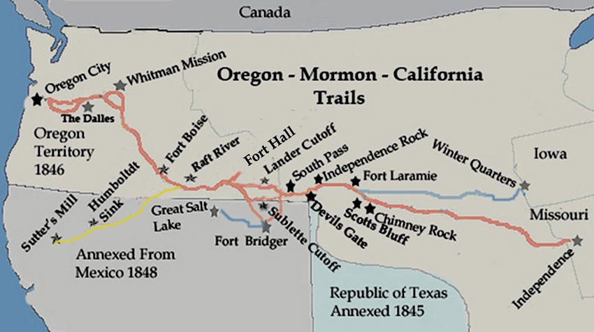 Oregon Trail On Us Map.The United States Is Discussed In The Oregon Country Article