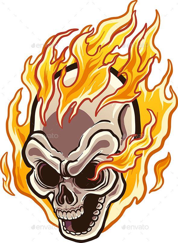 Flaming Skull Skull Illustration Skull Art Drawing Skull Drawing