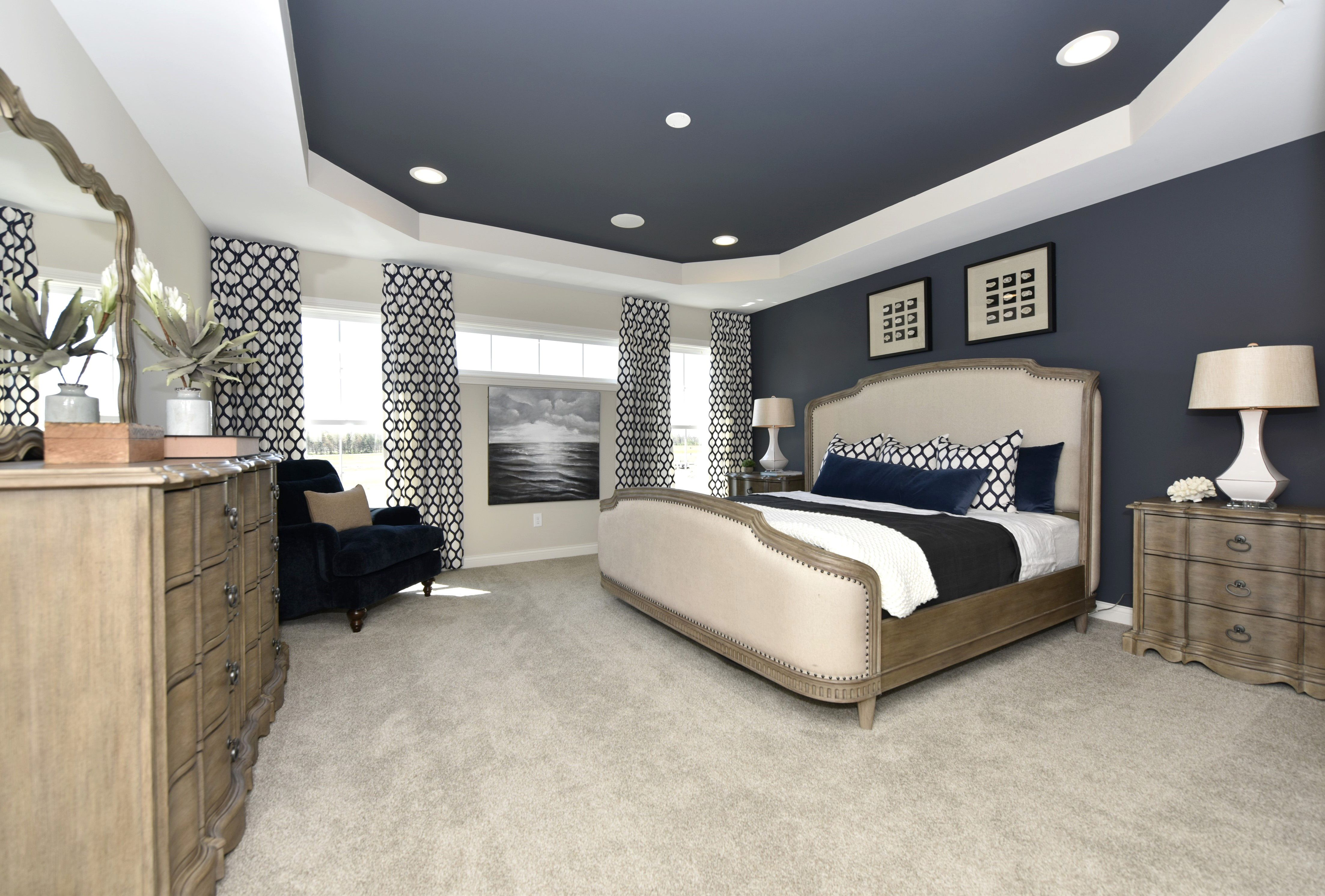 Create A Luxurious Master Bedroom By Painting A Feature Wall And The Trey Ceilings The Luxury Bedroom Master Bedroom Paint Colors Master Ceiling Design Bedroom Luxury master bedroom paint