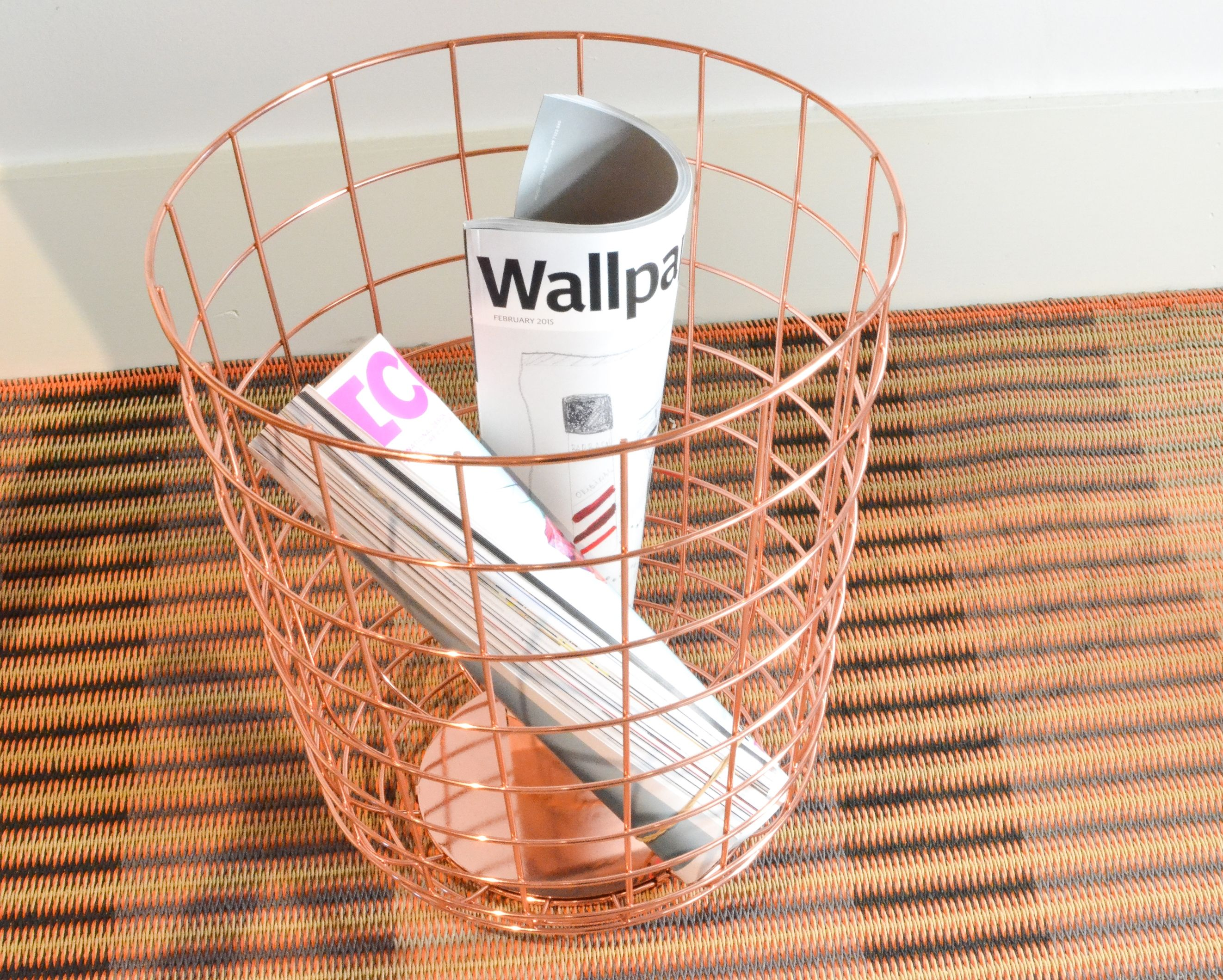 The contemporary Wire Bin from Menu features in our Copper