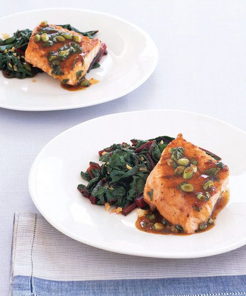 Teriyaki Salmon with Gingery Chard #teriyakisalmon