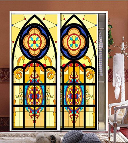 LifeStyle Home Custom Tiffany Transparent SelfAdhesive Stained - Stained glass window stickers amazon
