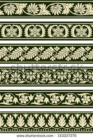 Indian Floral Borders - stock vector