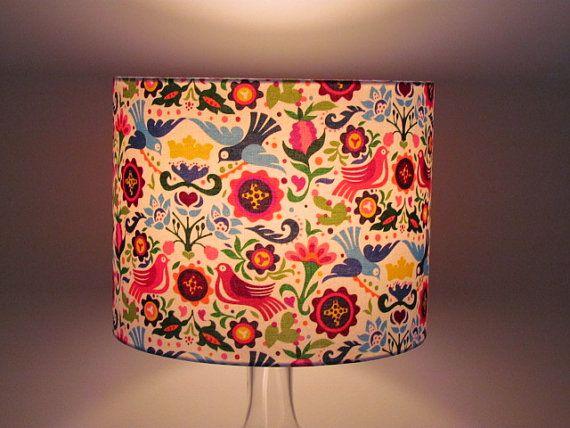 Handmade Retro Scandi Scandinavian Bright Bird Lampshade 20cm 25cm 30cm Lightshade Low Energy Light Bulbs Lamp Shades Drum Lampshade