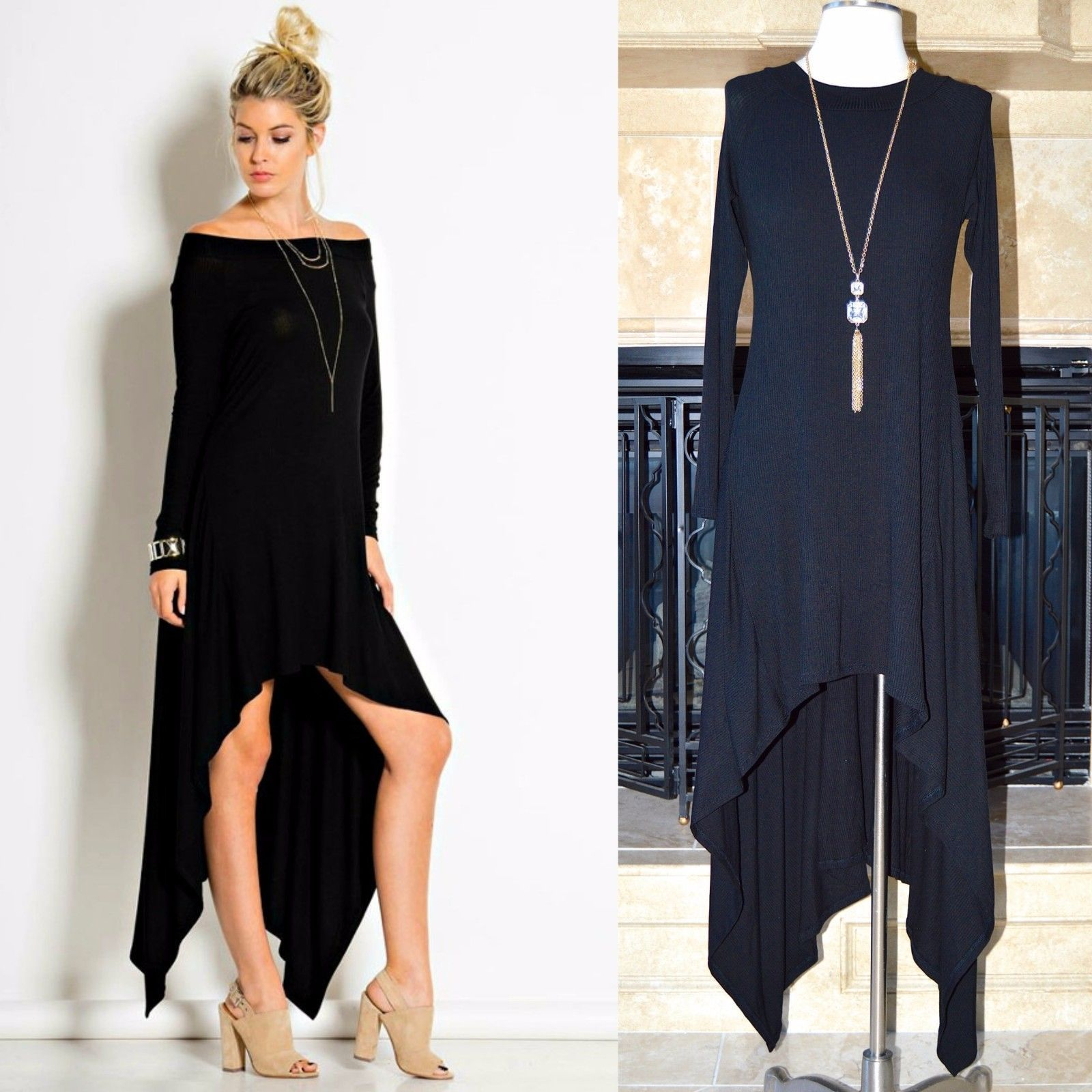 Long Sleeve On Off Shoulder Hi Low Flowy Swing Maxi Dress Or Tunic Top Black S L
