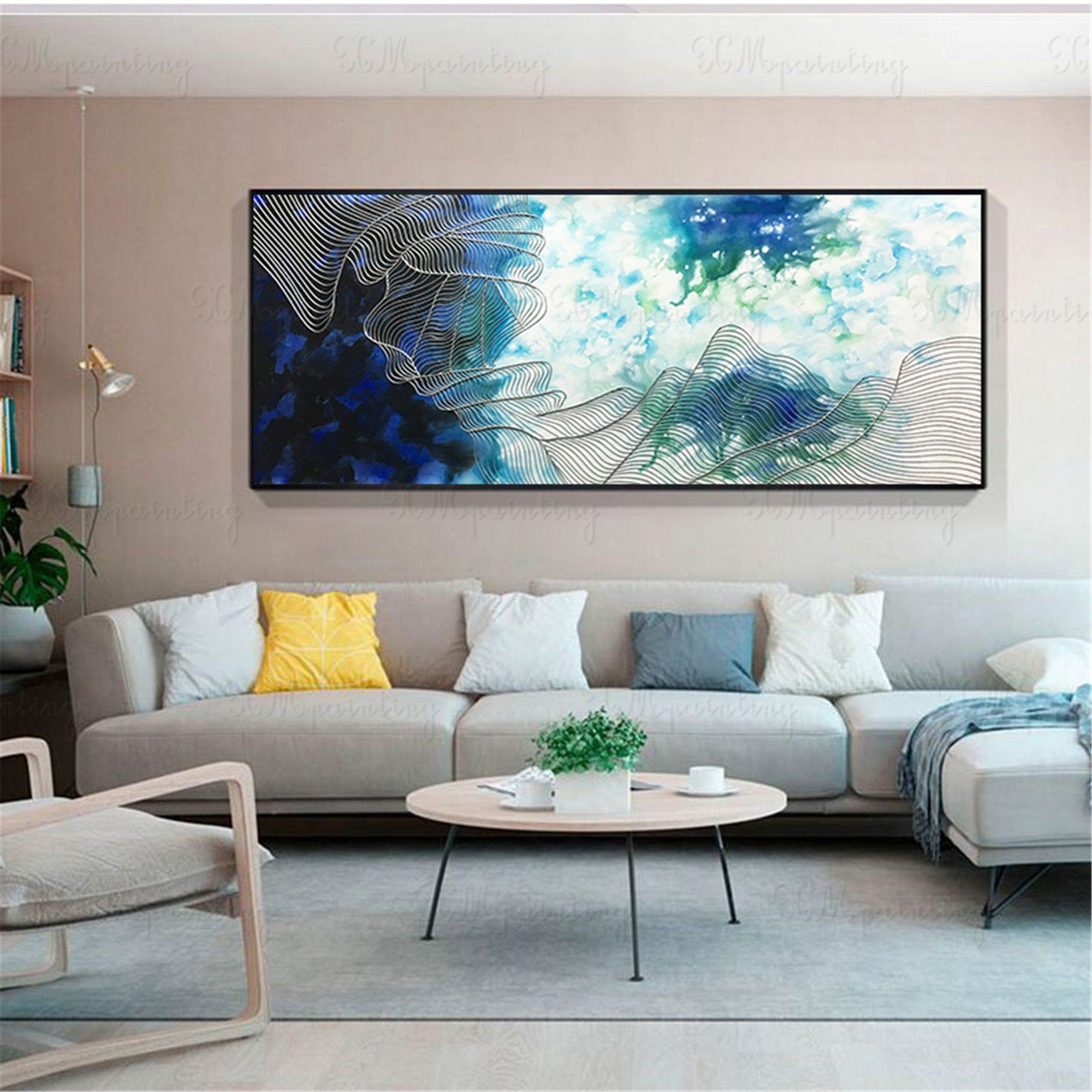 Abstract canvas painting wall art pictures for living room