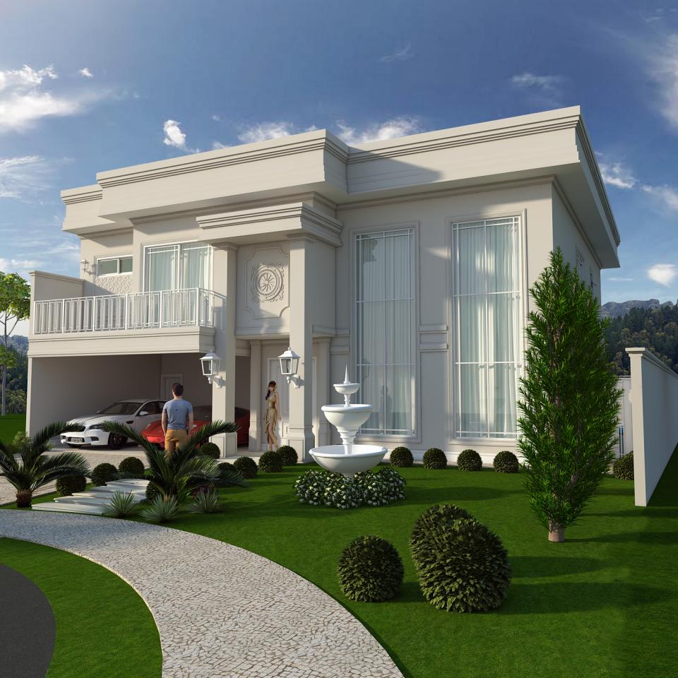 Projeto constru o casa sobrado alto padr o arquitetura for Casa classica tile