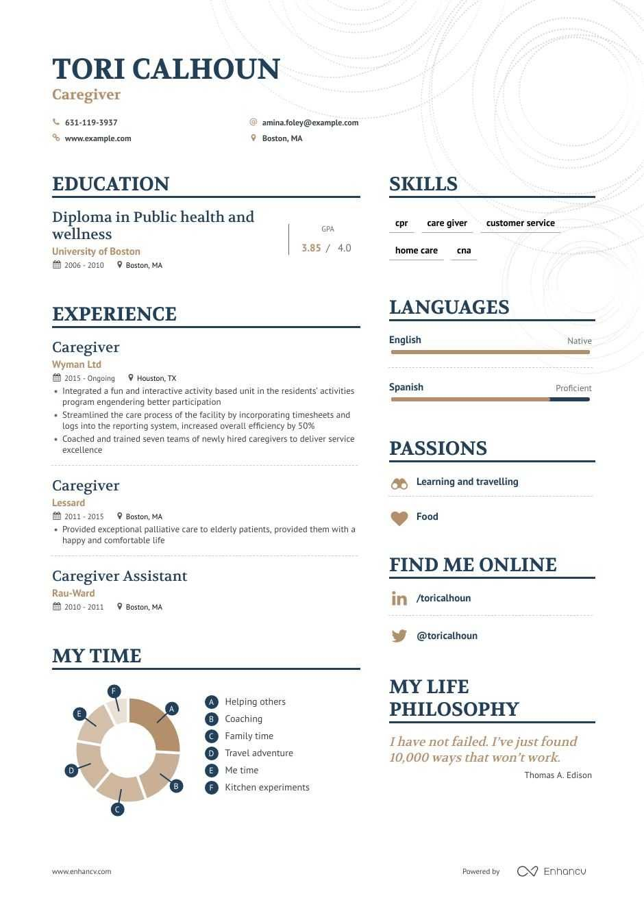 Caregiver resume example in 2020 resume examples