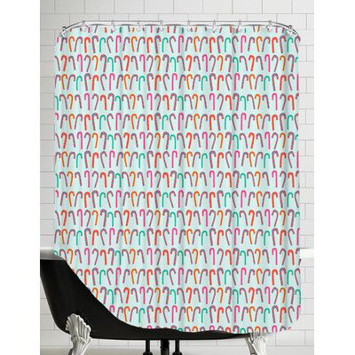 East Urban Home Candy Cane Shower Curtain