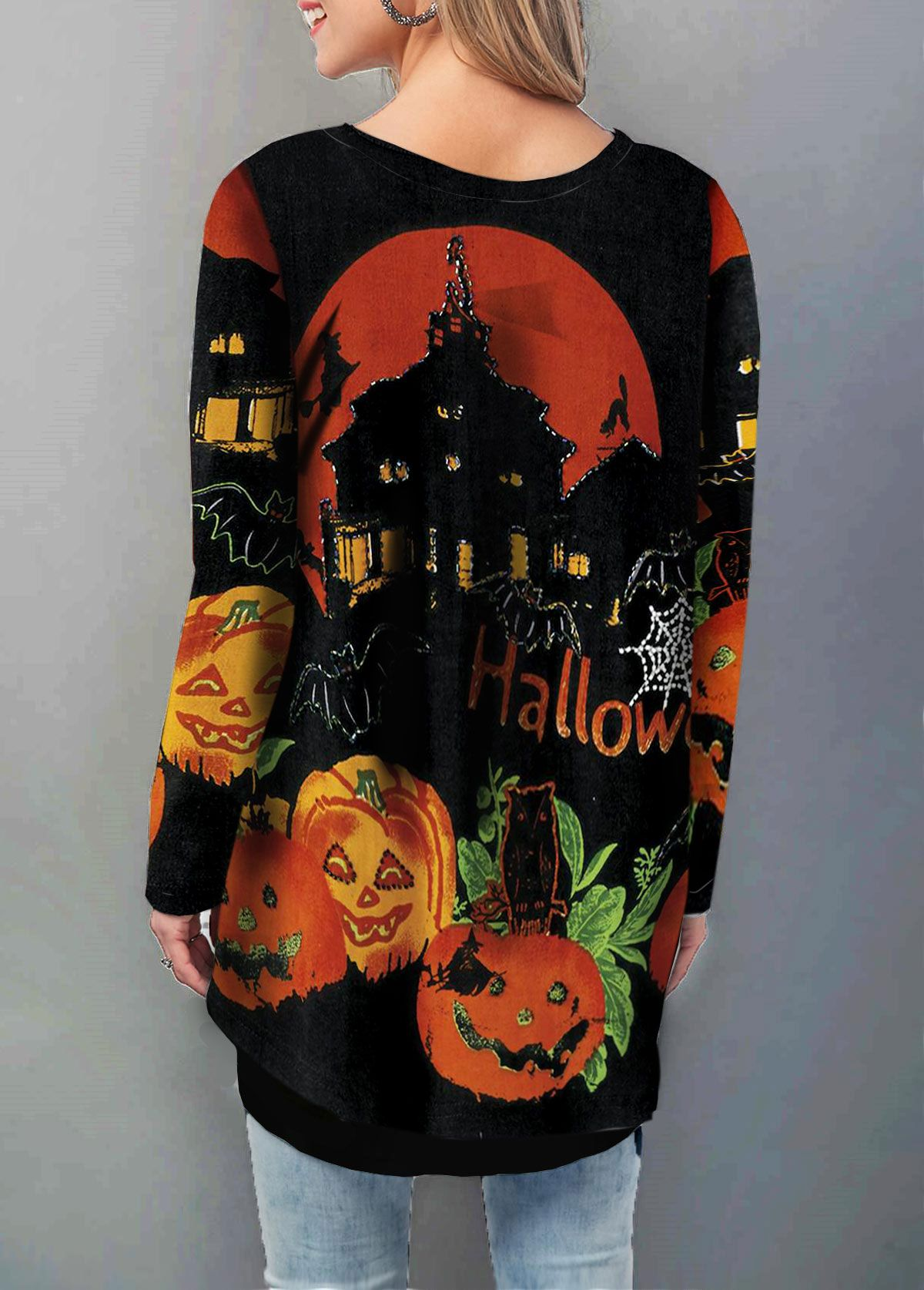 Cowl Neck Halloween Print Long Sleeve T-Shirt//Cold Shoulder Sequin Embellished