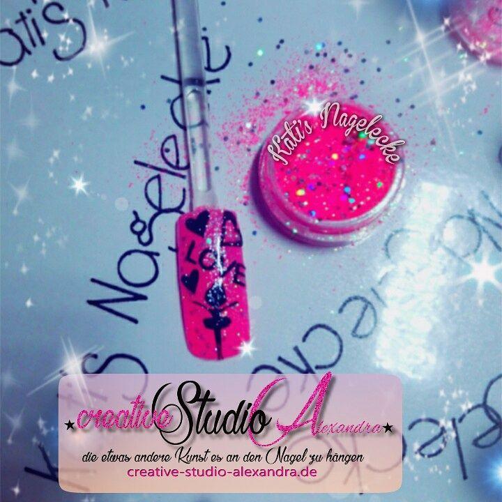 Love Design Nails Nail Nageldesign Glitzer Pink Love