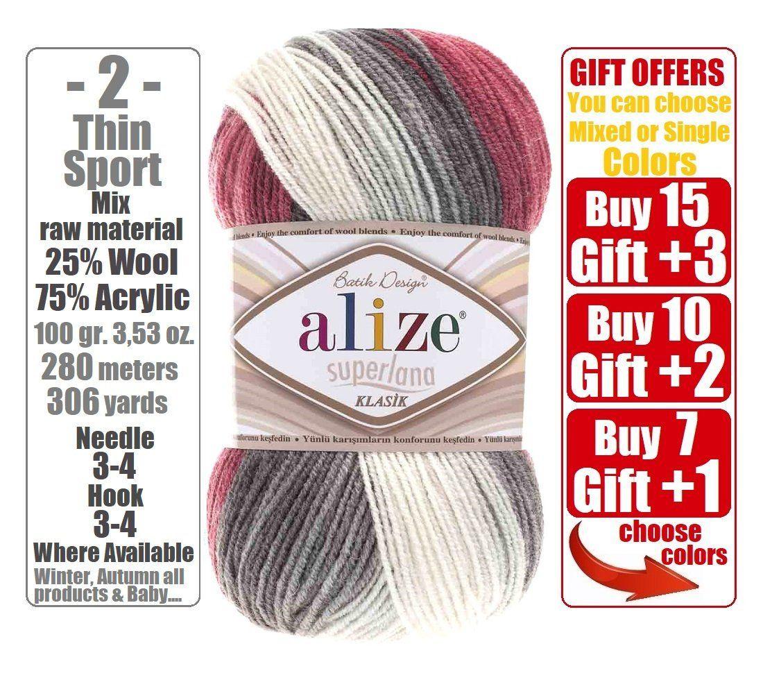 Alize Superlana Klasik Batik, Knitting Yarn, Wool Yarn