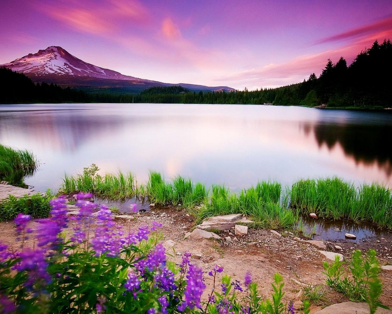 Mountain Beautiful Lake Sunset 1280x1024