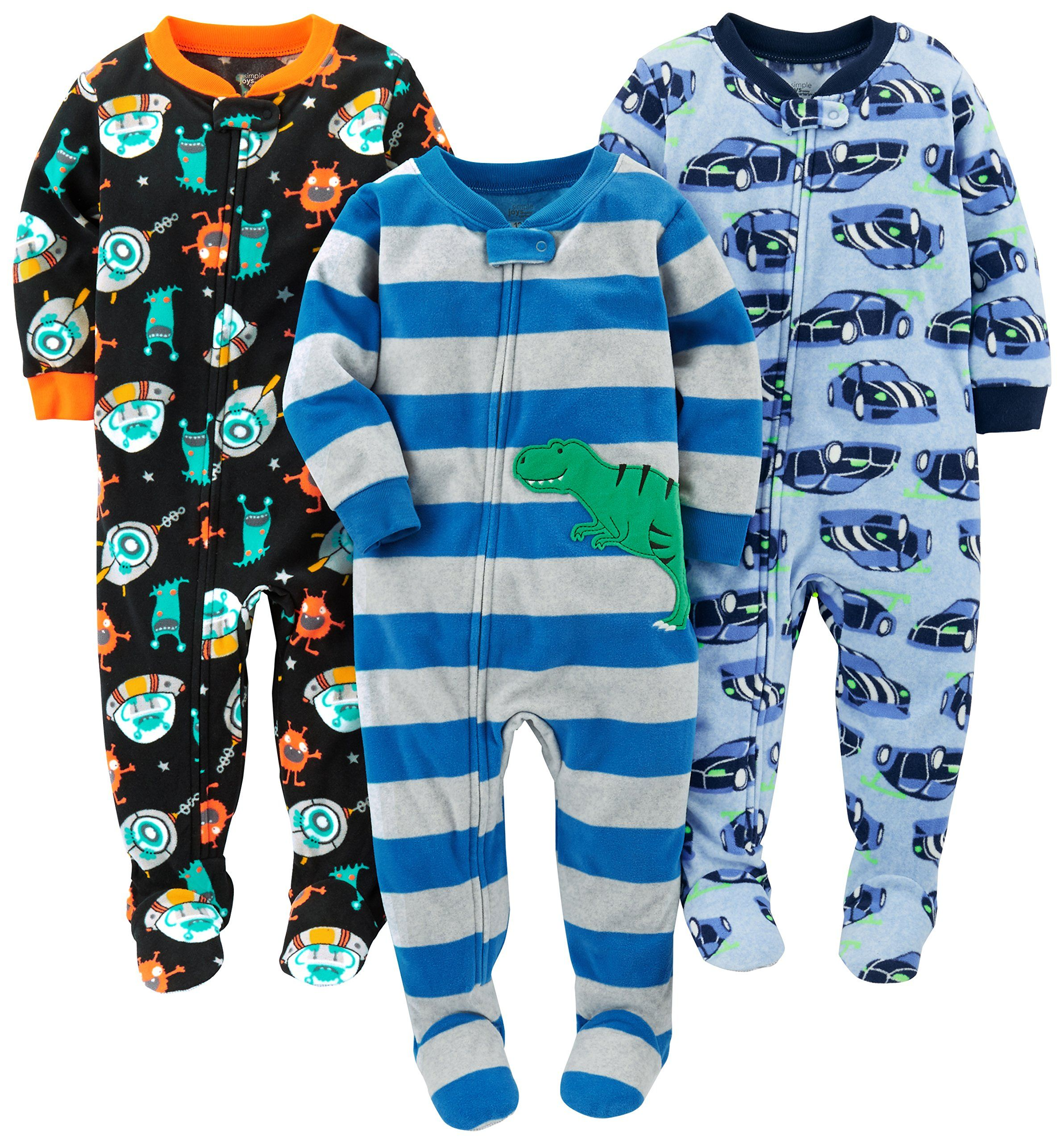 Simple Joys By Carters Baby Boys 3pack Flame Resistant Fleece Footed Pajamas Racer Cars Space Dino 12 Months Find Baby Boy Outfits Boy Outfits Foot Pyjamas