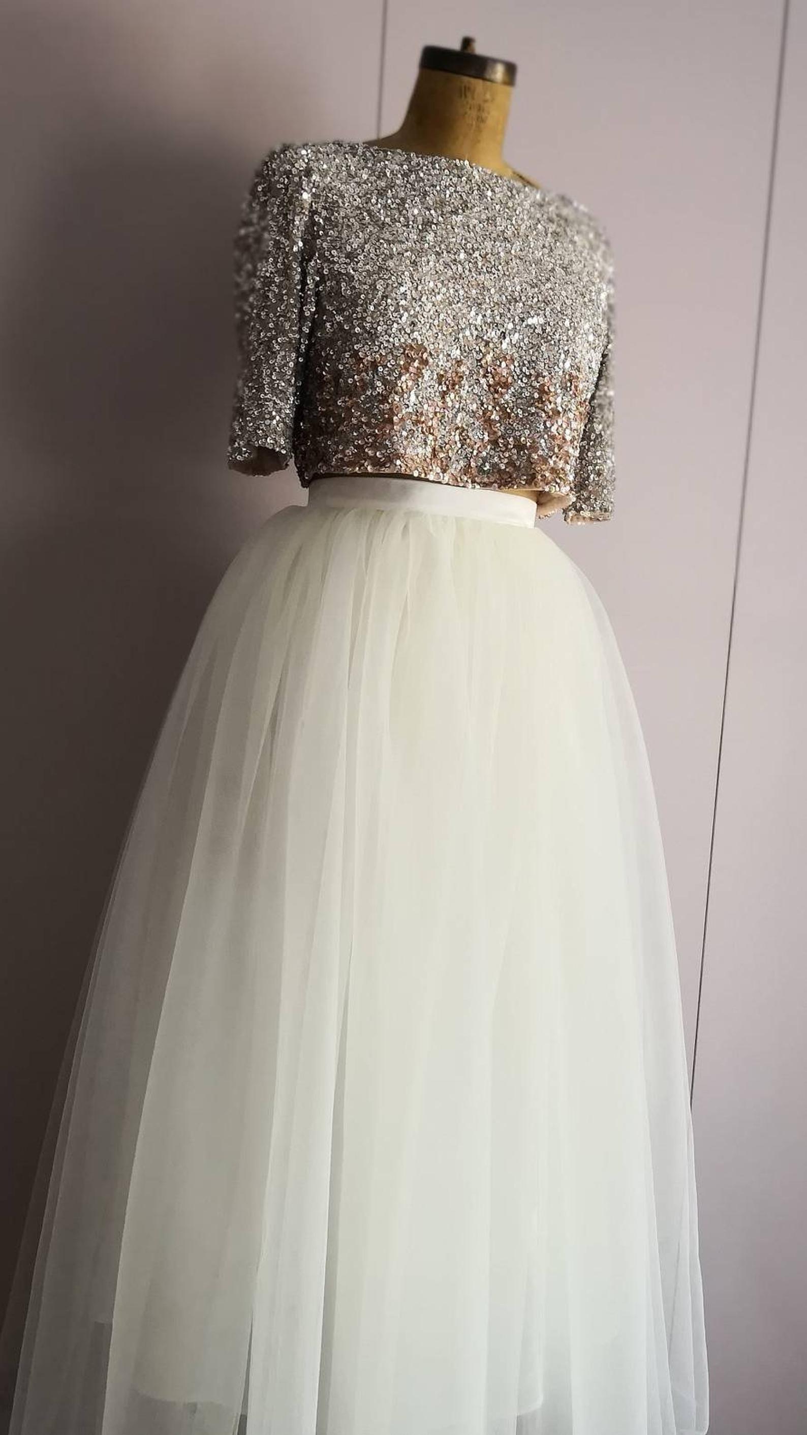 Photo of Full Length Ivory Tulle Bridal Skirt, Long Tulle Bridesmaid Skirt, Wedding Separates, Custom Made To Measure Wedding Skirts, Handmade UK