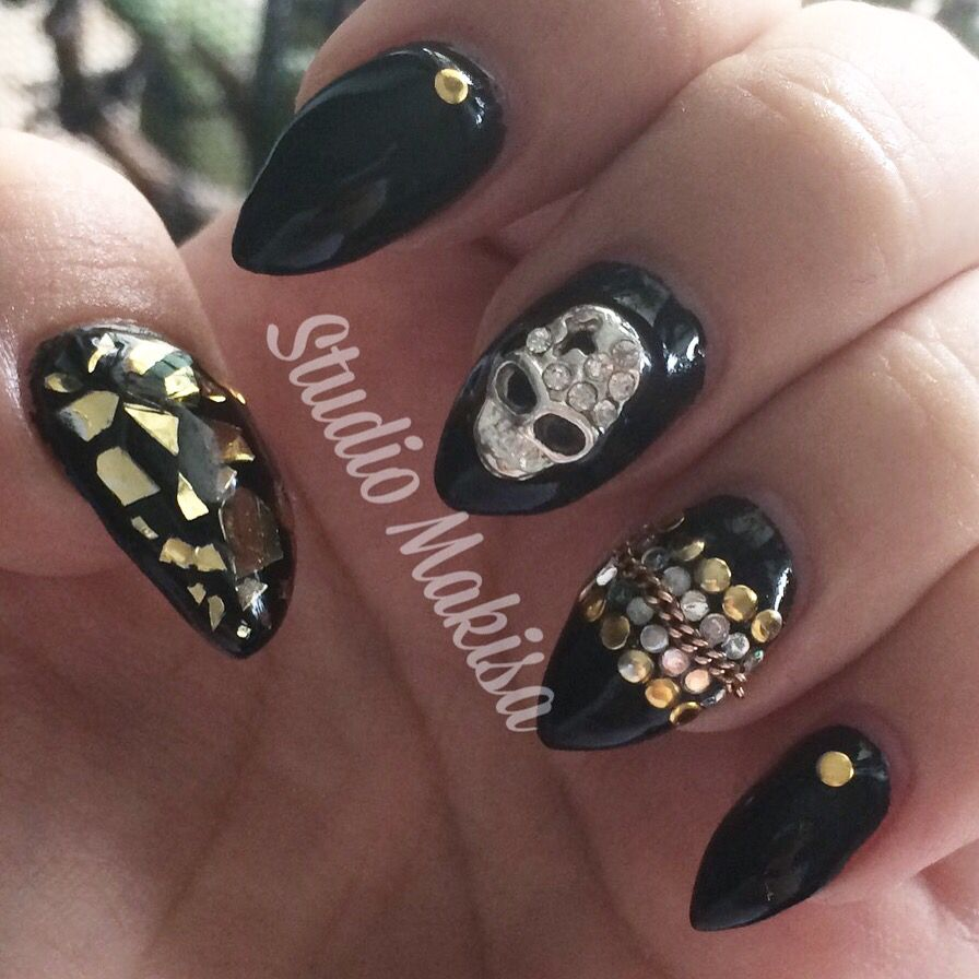 Black nails with gold and silver decorations | Nails by Makisa ...