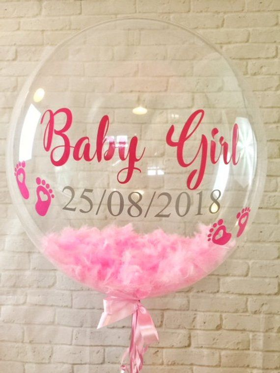 Personalised Welcome Baby Pink Feather Balloon Inflated Baby
