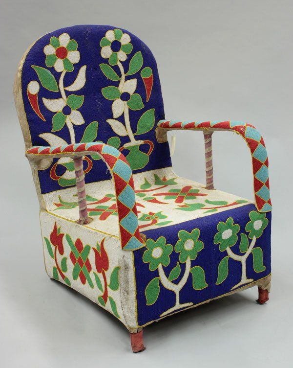 6088 Beaded Chair Yoruba Tribe Nigeria On Clothes And