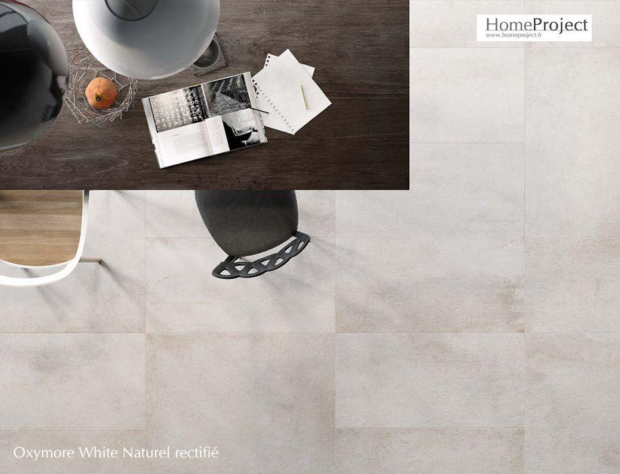 carrelage aspect b ton brut tr s contemporain de couleur blanc nuanc en gr s c rame teint. Black Bedroom Furniture Sets. Home Design Ideas