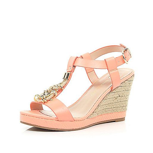 Coral embellished front raffia wedges - wedges - shoes / boots - women