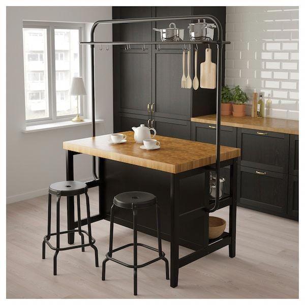 VADHOLMA Kitchen island with rack, black, oak - IKEA