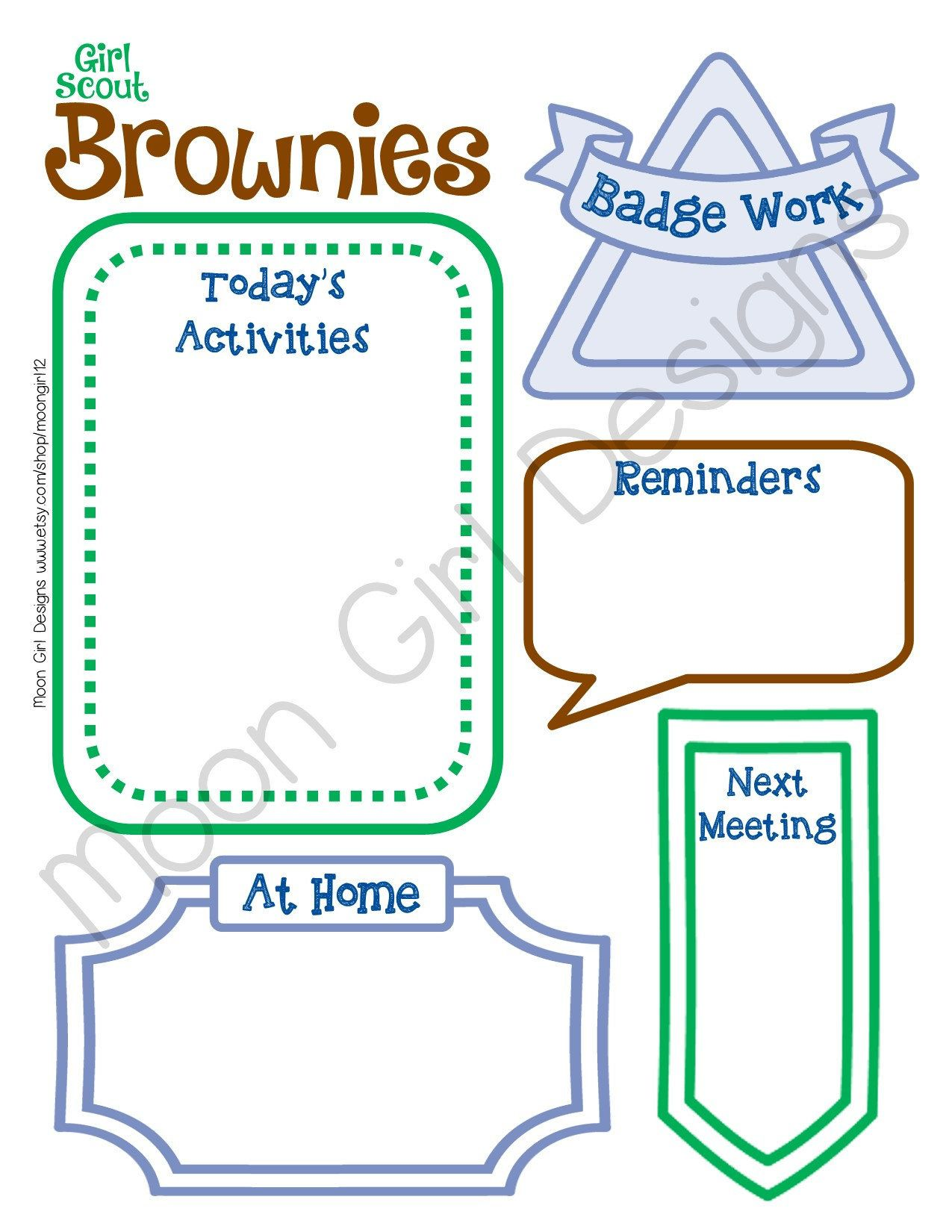 Brownie Girl Scout Meeting Activity Planner Troop Fillable