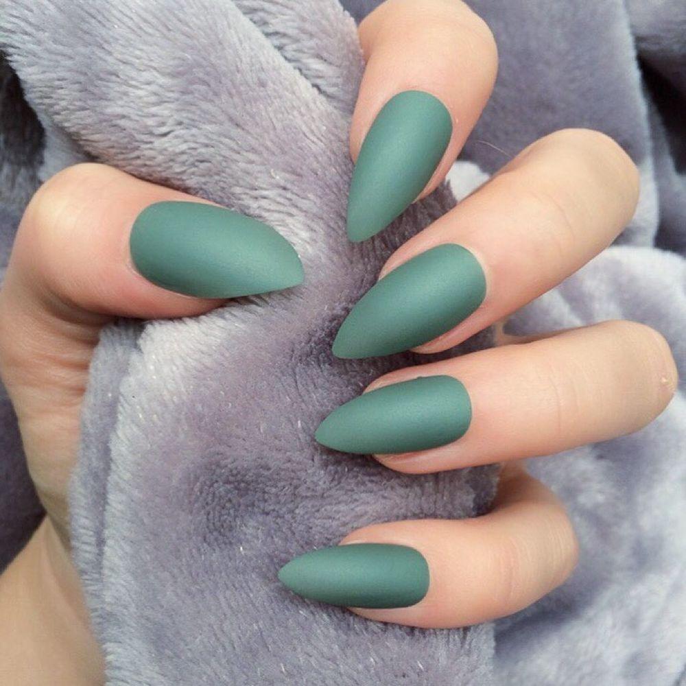 Doobys Nails - Khaki Matte - 24 Glue on Hand Painted Stiletto Green ...