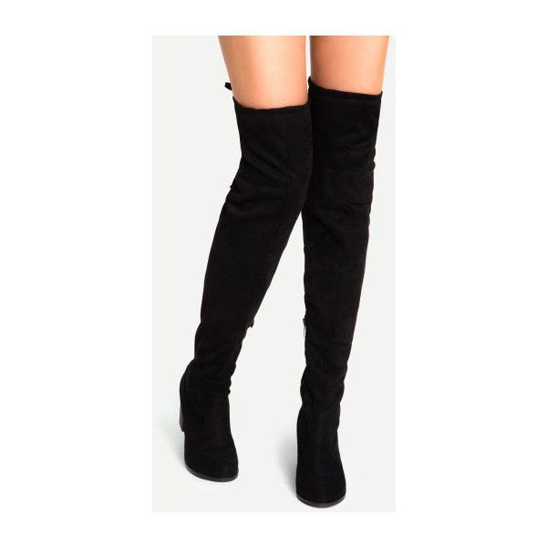 b4a00e3327b SheIn(sheinside) Black Faux Suede Lace Up Over The Knee Boots ( 50 ...