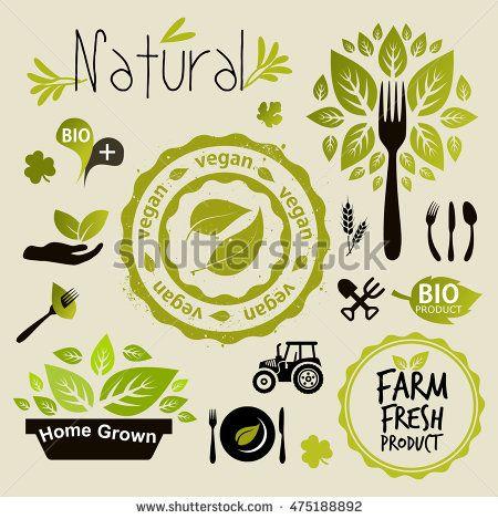Vegan icon set vector abstract, badge, bio, certified, cooking
