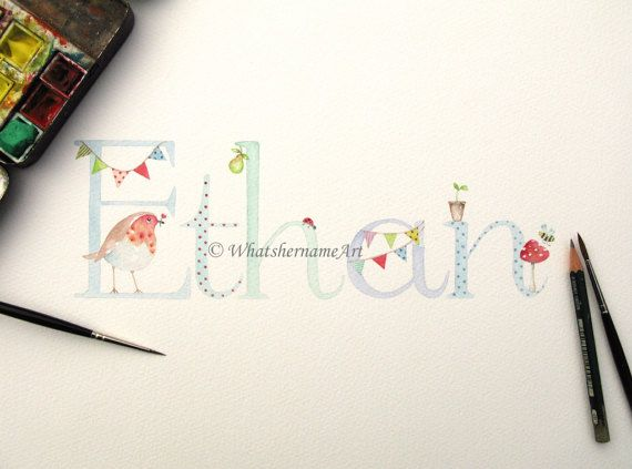 c27dda7798adf Boys Name. Boys Personalised Name Painting. Original Watercolour ...