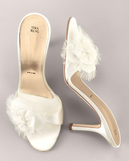 Short White Bridal Heels, Peep-Toe/ Open-Toe with Flowers