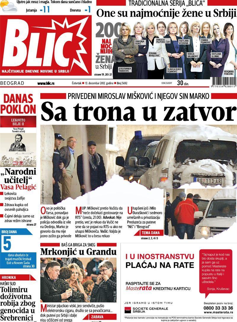 """Naslovna strana """"Blica"""" za 13. decembar 2012. Movie"""
