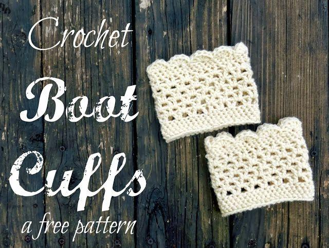 Lacy festoneado ganchillo Boot Puños (un patrón gratis)   crochet ...