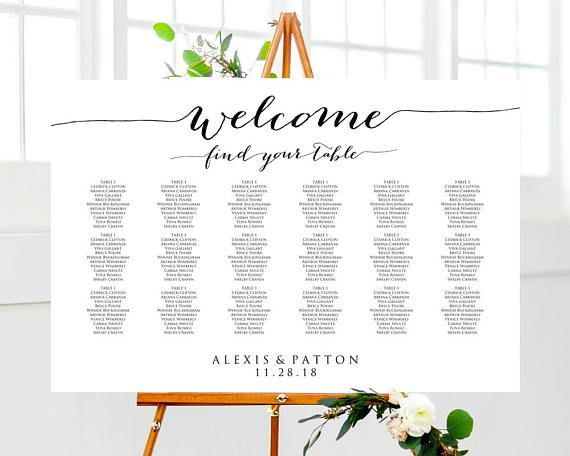 Welcome  Find Your Table Wedding Seating Chart Template