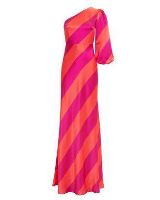 Lily One Shoulder Striped Gown, PINKORANGE, hi res