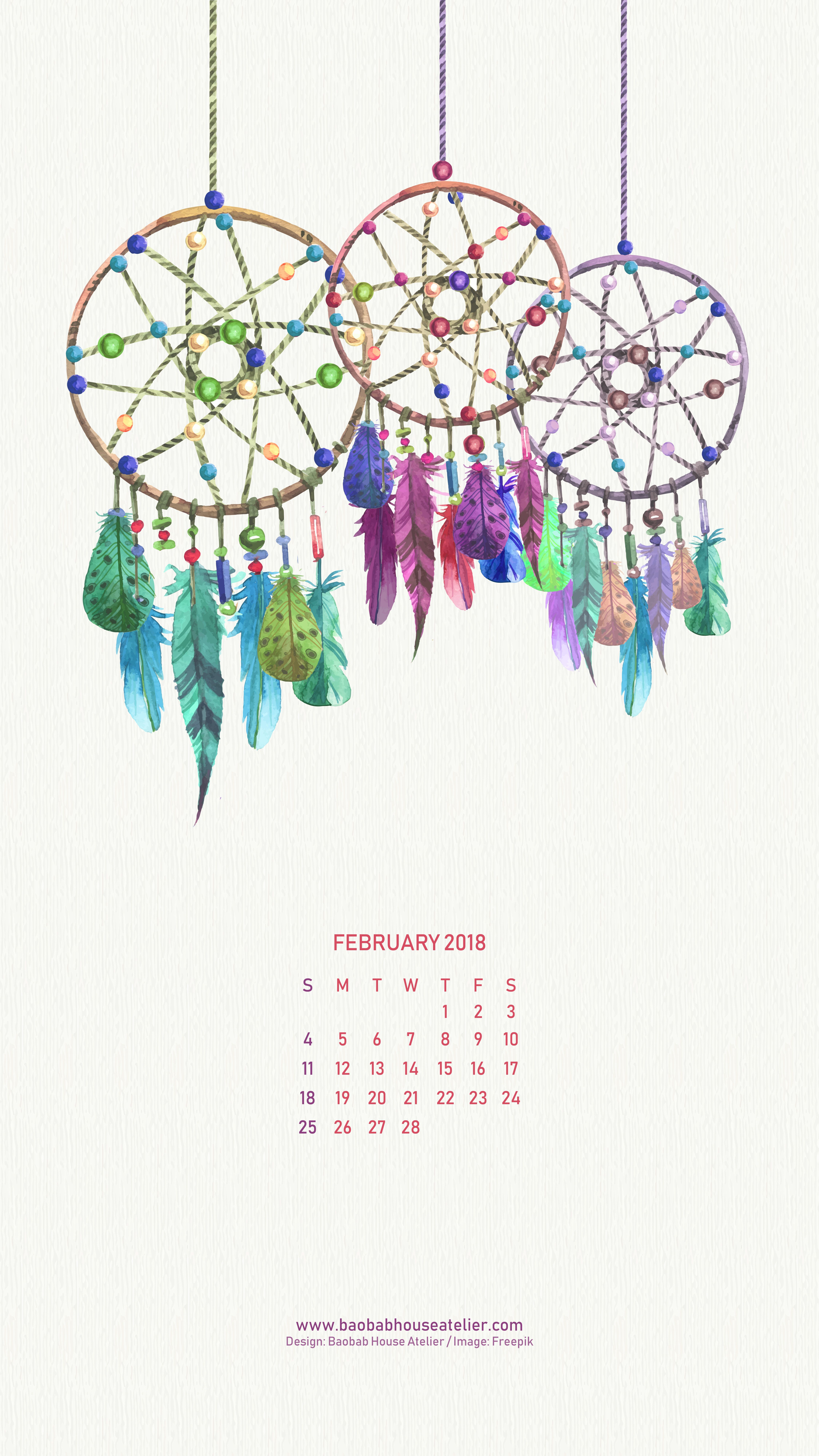 Freebie Laptop Mobile February Calendar Baobab House