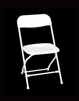 Folding Chair, White Samsonite