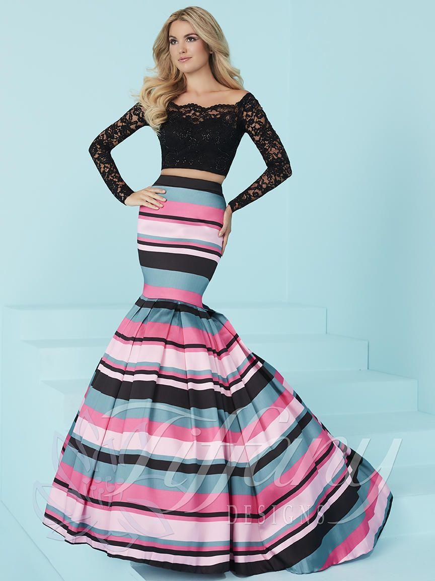 Tiffany Designs 16201 Long Sleeve 2pc Prom Dress | Box pleats ...