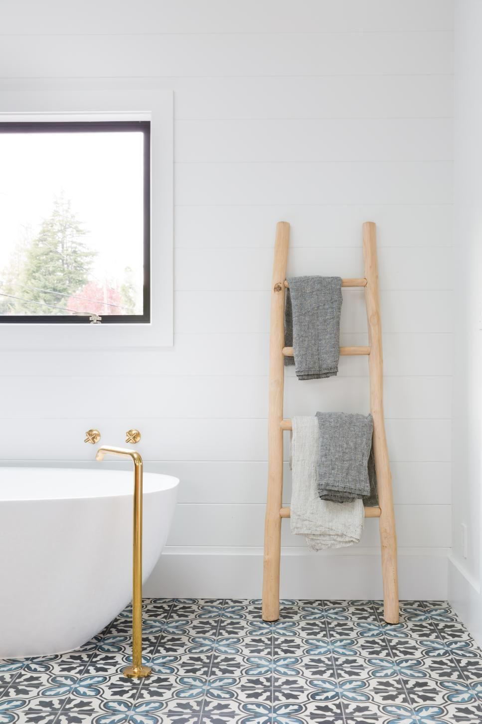 White Cottage Bathroom With Rustic Ladder Towel Rack | Decor ...