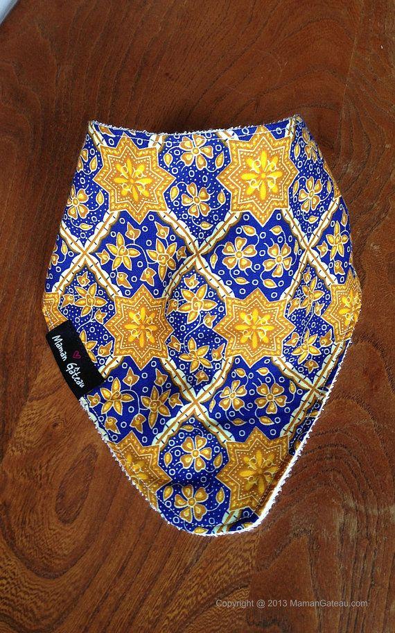 Gold/blueAfrican print bandana bib backed with by MamanGateau, £8.50