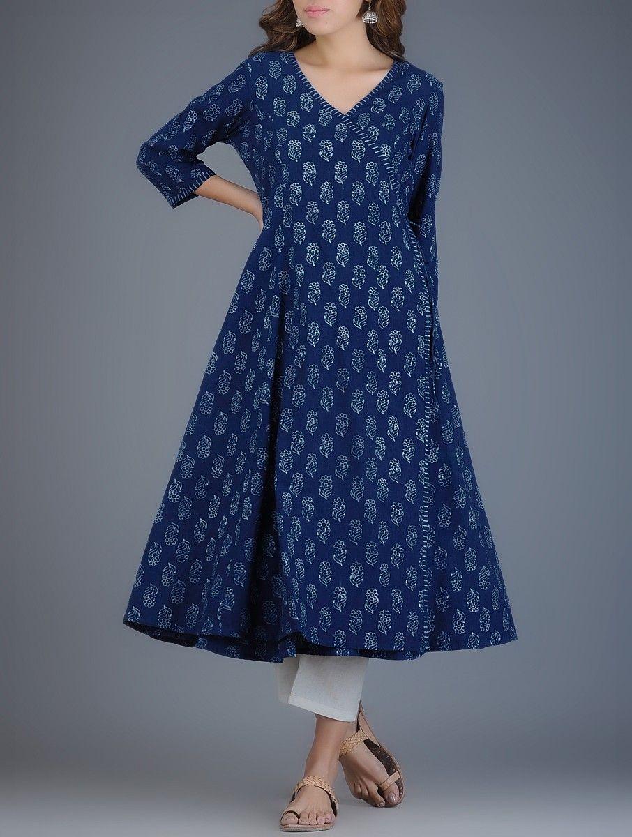 de24a1695790b Buy Indigo Ivory Block printed Khadi Angrakha Kurta Online at Jaypore.com