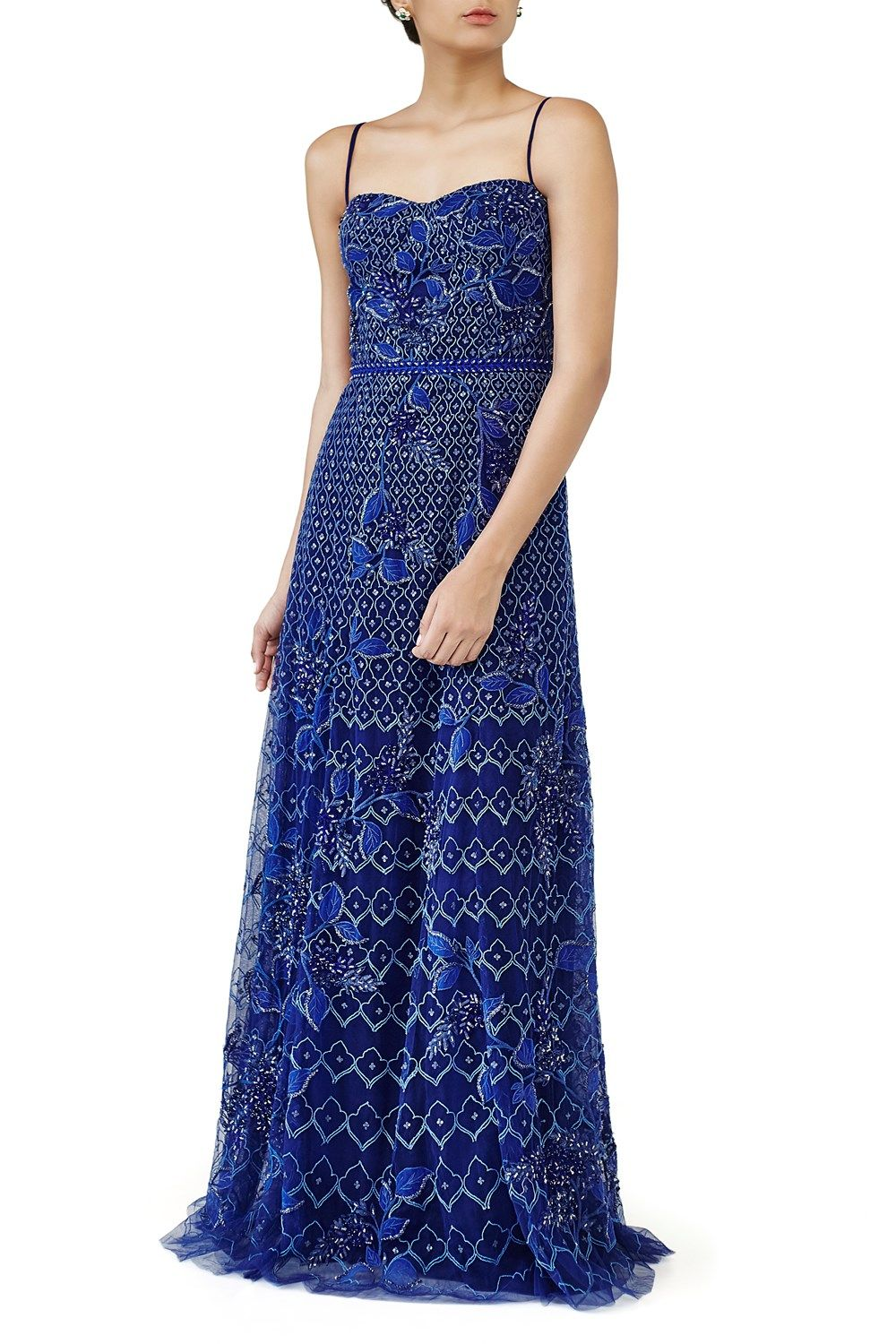 dc0f14218b4 Featuring a navy blue shoulder strap gown crafted in net with dori  embroidery and sequin embellishment