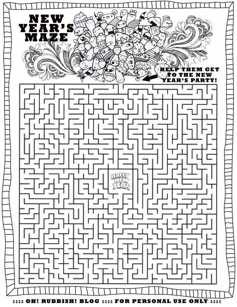 Happy New Year Maze by oh! rubbish! blog (With images
