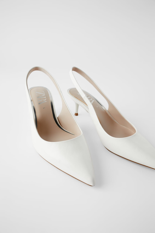 נעליים עם רצועה אחורית ועקב קיטן נעליים נשים Shoes Bags Zara ישראל Kitten Heel Wedding Shoes Kitten Heels Wedding Kitten Heels Outfit