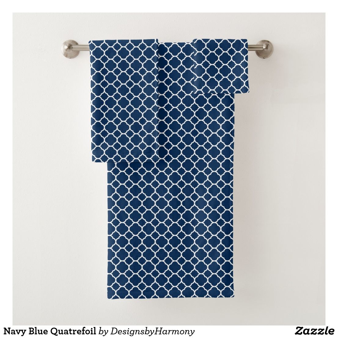 Navy Blue Quatrefoil Bath Towel Set Zazzle Com With Images