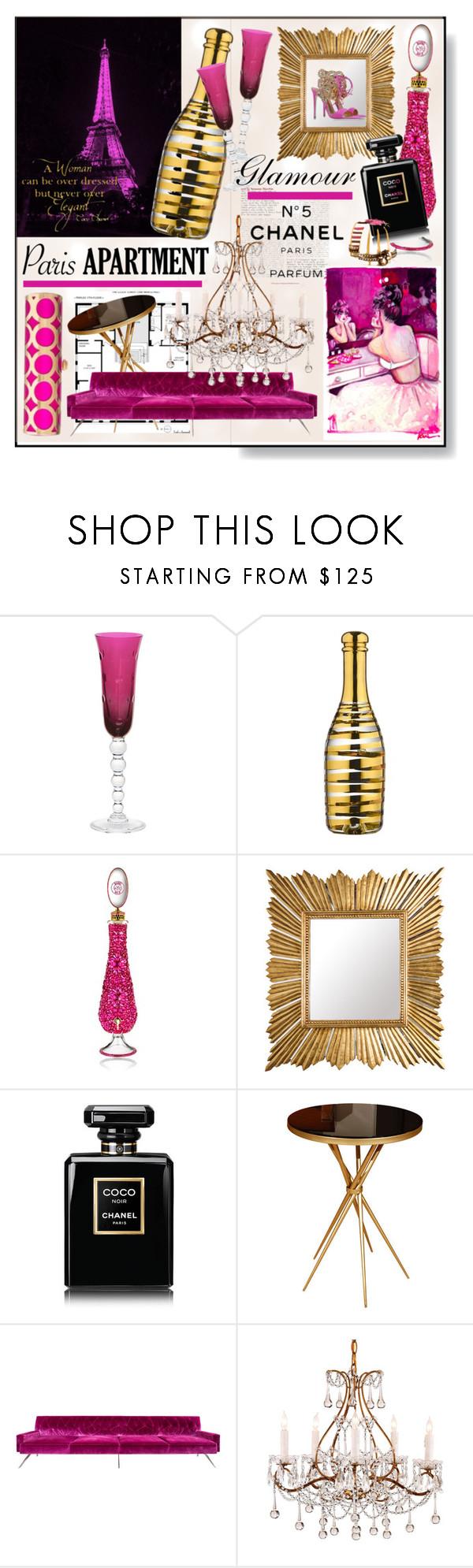 """Paris Apartment * Pink & Purple Living Room"" by calamity-jane-always ❤ liked on Polyvore featuring interior, interiors, interior design, home, home decor, interior decorating, Saint Louis, Kosta Boda, Bond No. 9 and Amanda Pearl"