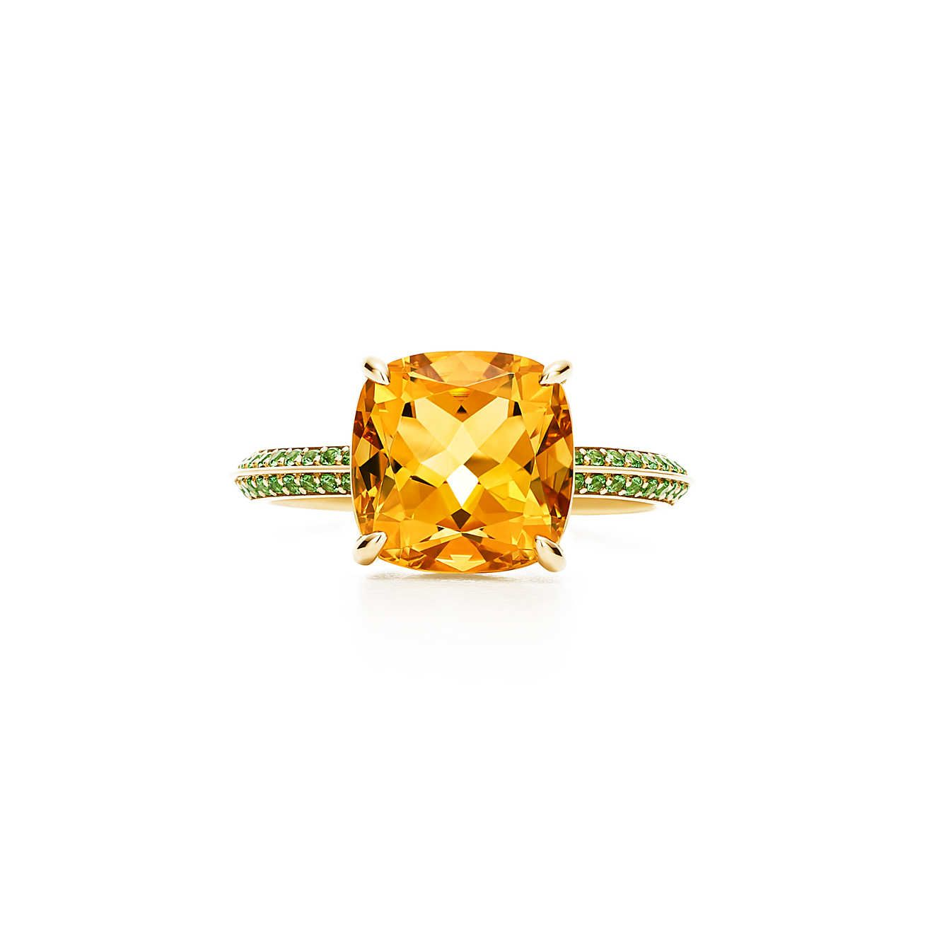 af9bbb5a1 Tiffany Sparklers ring in 18k gold with a citrine and round tsavorites.