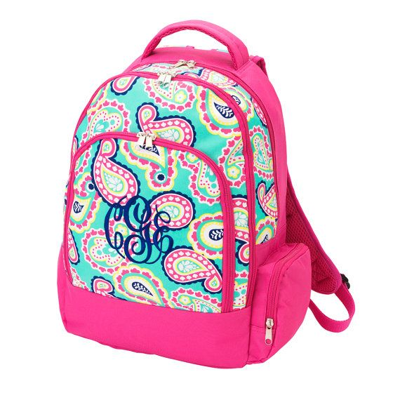 ee748fa9d79a Monogrammed Mint Paisley Pattern Bookbag - Monogrammed Backpack - Back to  School - Summer Sale - Personalized Backpack